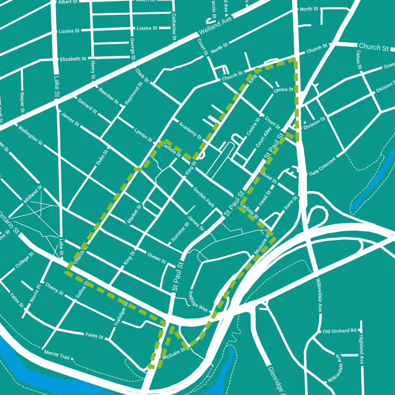 Map of the St. Catharines Downtown Boundary